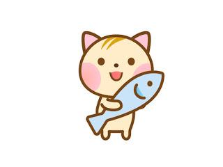 魚を持った猫のイラスト