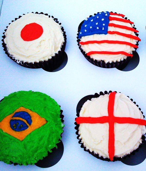 flag cupcakes for 2014 fifa world cup party - brazil england america japan-f71420