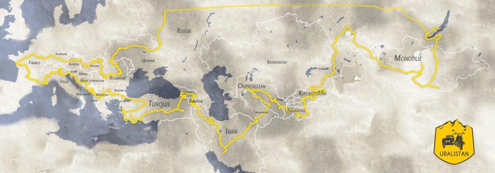 itinéraire du road trip en side car à travers l'Europe et l'Asie