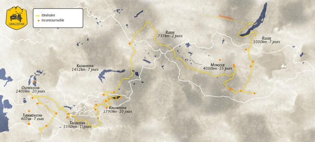 """Itinéraire du road-trip : Mongolie, Russie, pays en """"stan"""""""