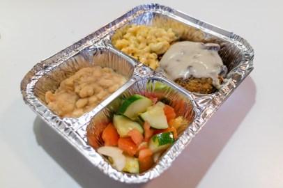 V-Chops, Mac + Cheese, White Beans