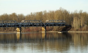 Amtrak's Coast Starlight crosses the Oregon Slough Bridge