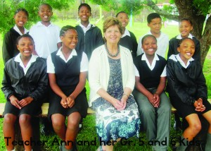 Pic 2 Headteacher Anna van Straaten with pupils