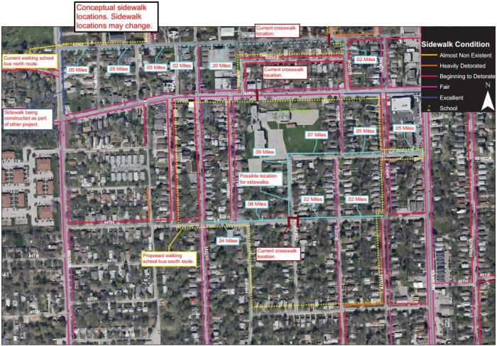 Safe Routes to School conceptual plan for Sidewalks near Frank Rushton Elementary