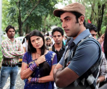 Ranbir Kapoor and Kratika Sengar listen attentively as the director gives them instructions