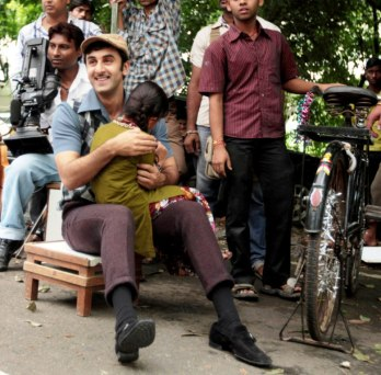 Ranbir Kapoor between takes on the sets of Zee TV's show Hitler Didi