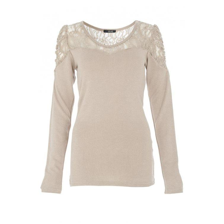 Beige Diamante Lace Top