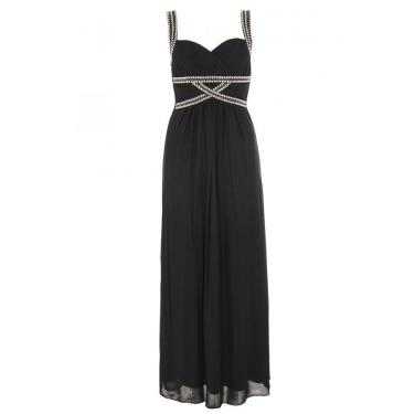 Black and Silver Grecian Chiffon Maxi Dress