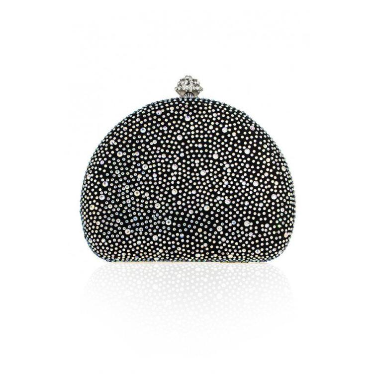 Black Multi Diamante Box Clutch