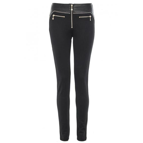Black PU Diamante Stretch Trousers