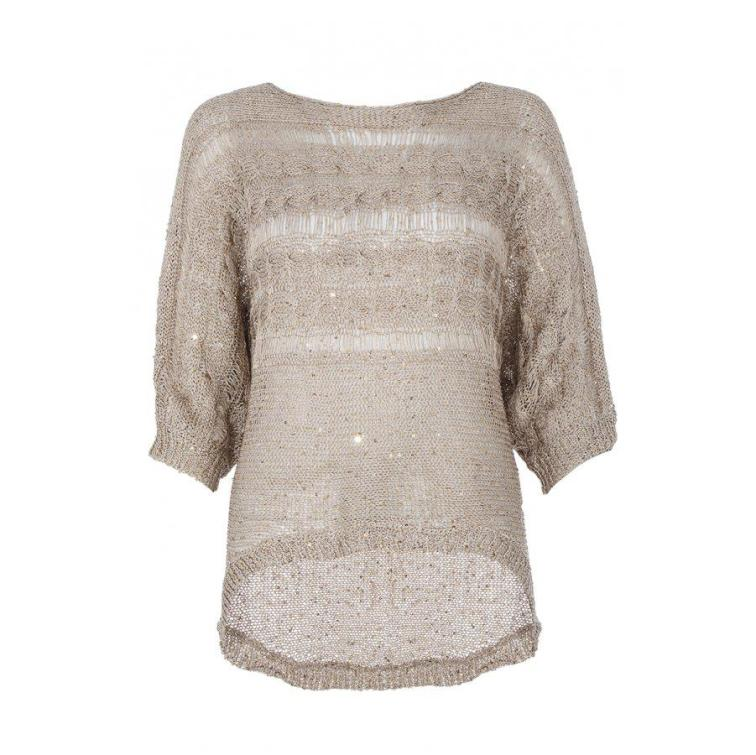 Gold Knit Sequins Batwing Jumper