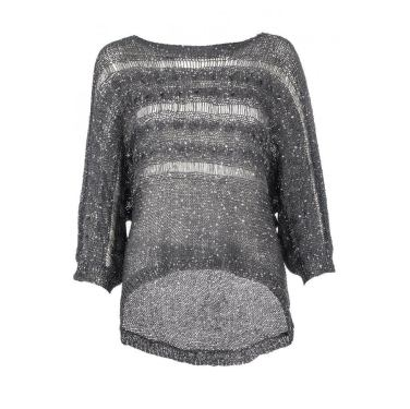 Grey and Silver Knit Sequins Batwing Jumper