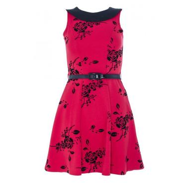 Red and Black Flower Belt Marcella Dress