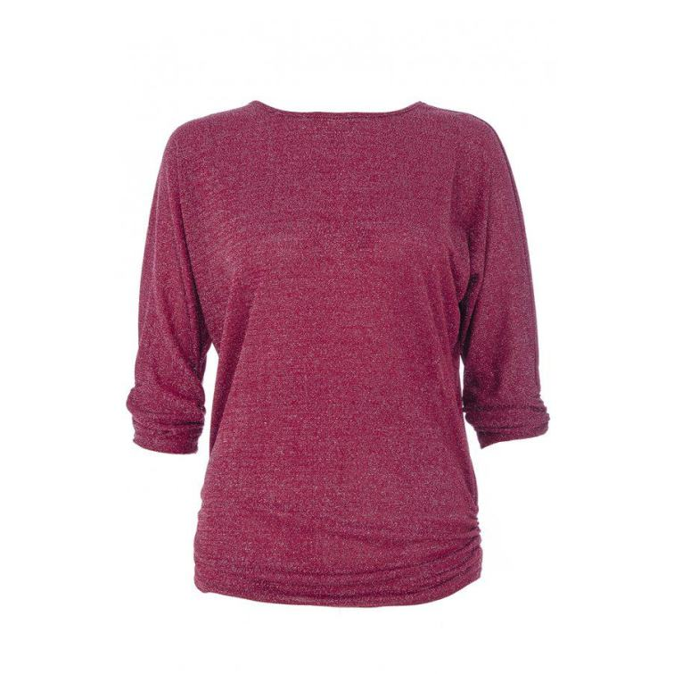 Wine Glitter Ruched Top