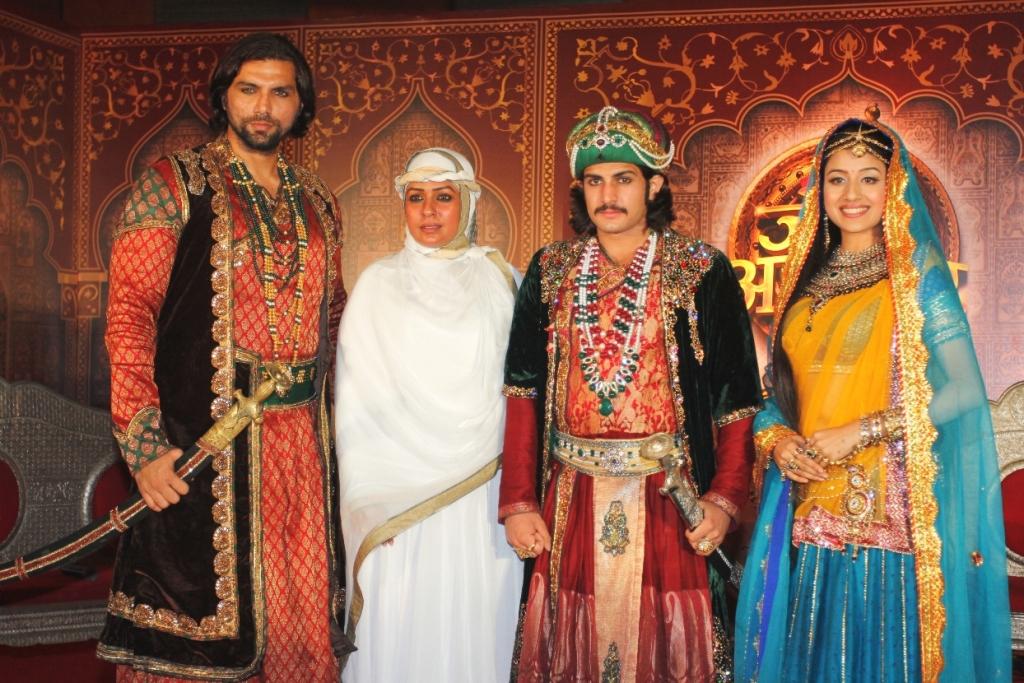 Chetan Hansraj as Adham Khan, Ashwini Kalsekar as Mahamanga, Rajat Tokas as Akbar and Paridhi Sharma as Jodha in Zee TV's Jodha Akbar