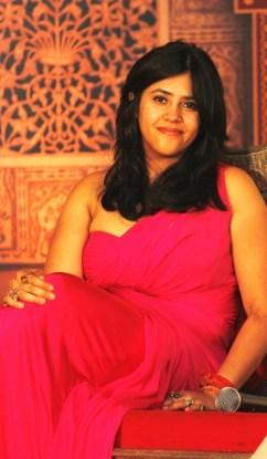 Producer Ekta Kapoor adresses the media at the press launch of Zee TV's Jodha Akbar