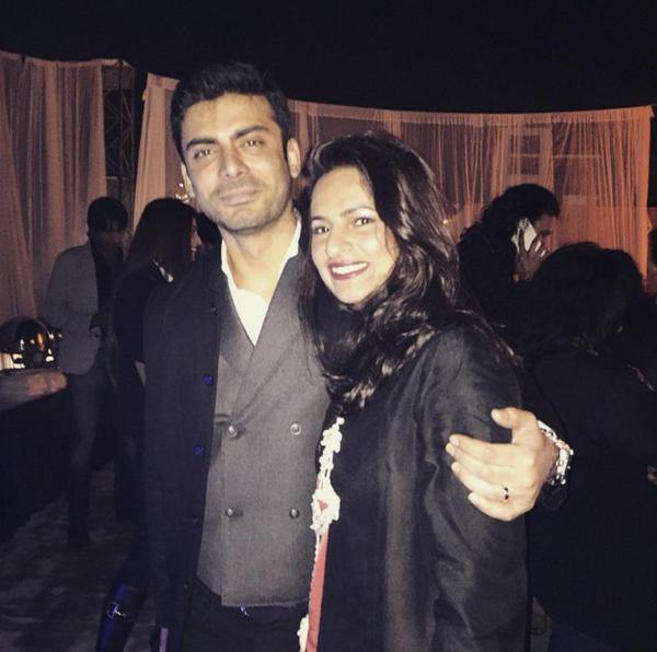 Fawad with his wife, Sadaf Khan