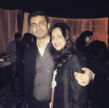 Fawad with his wife, Sadaf Khan