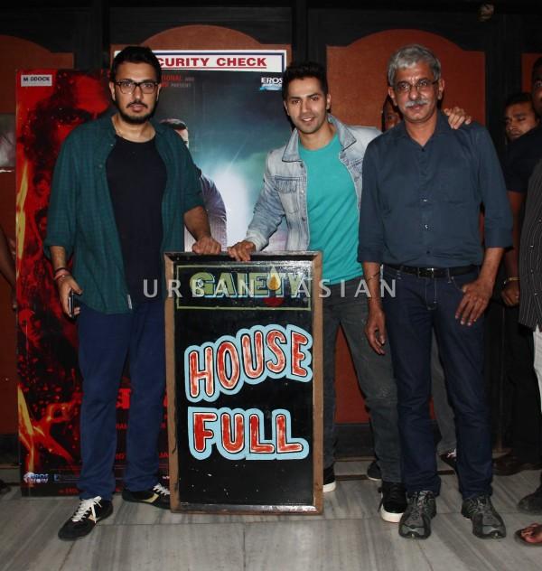varun dhawan dinesh vijan and Sriram Raghawan visit Gaeity Galaxy