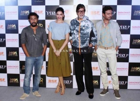 Bollywood actors Amitabh Bachchan, Deepika Padukone and Irrfan Khan during the trailer launch of film Piku in Mumbai