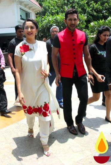 Madhuri Dixit Nene and Terence Lewis during the launch of five day long contemporary dance festival, JUNGNEE