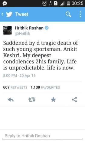 Hrithik Roshan tweet