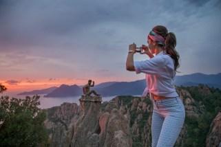 Deepika clicks a picture of Ranbir during the Tamasha shoot in Corsica