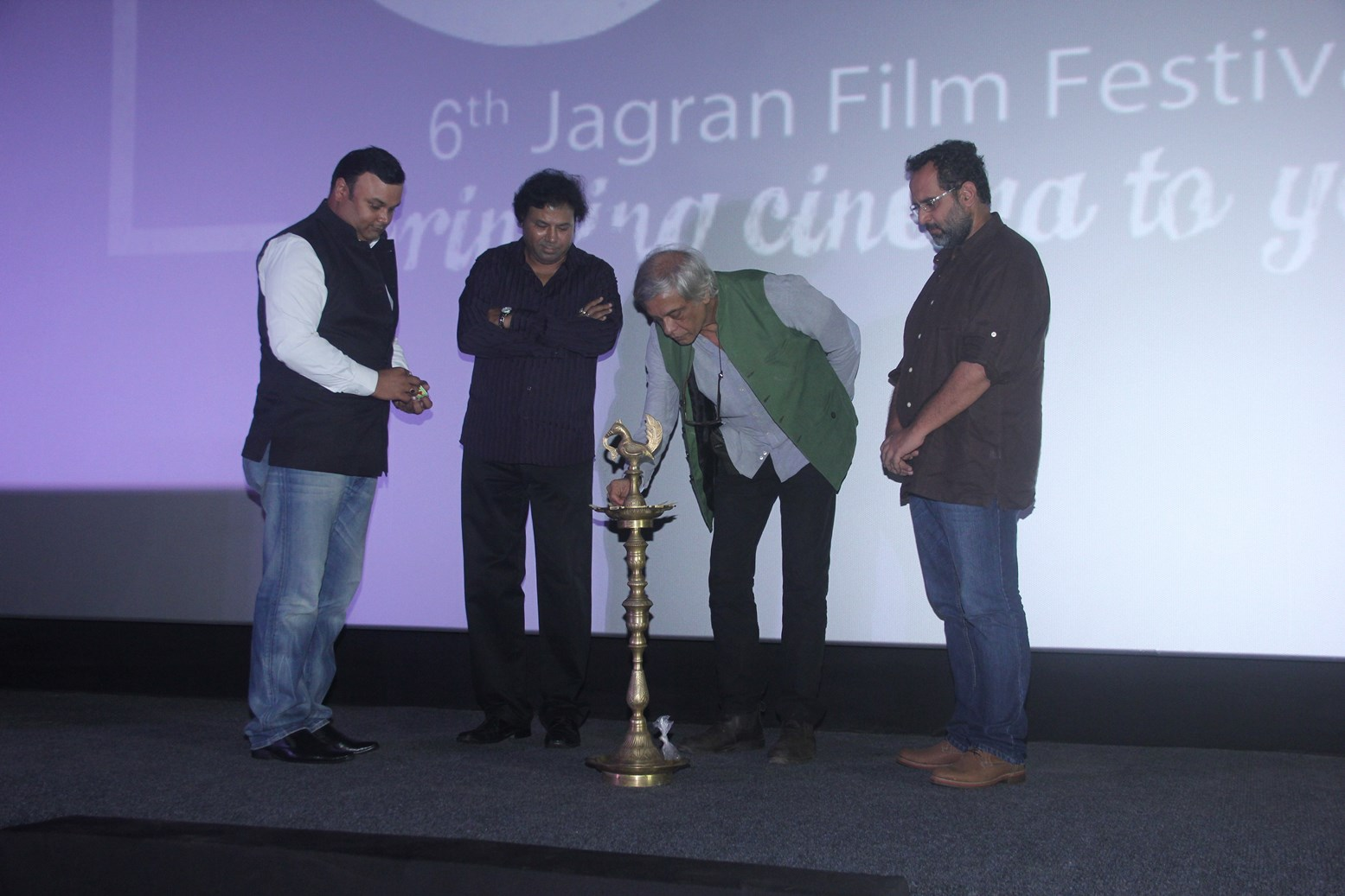 Mr. Vinod Srivastava, Mr. Manoj Srivastava, Sudhir Mishra and Anil Sharma at the Opening Ceremony of the 6th Jagran Film Festival 2015.