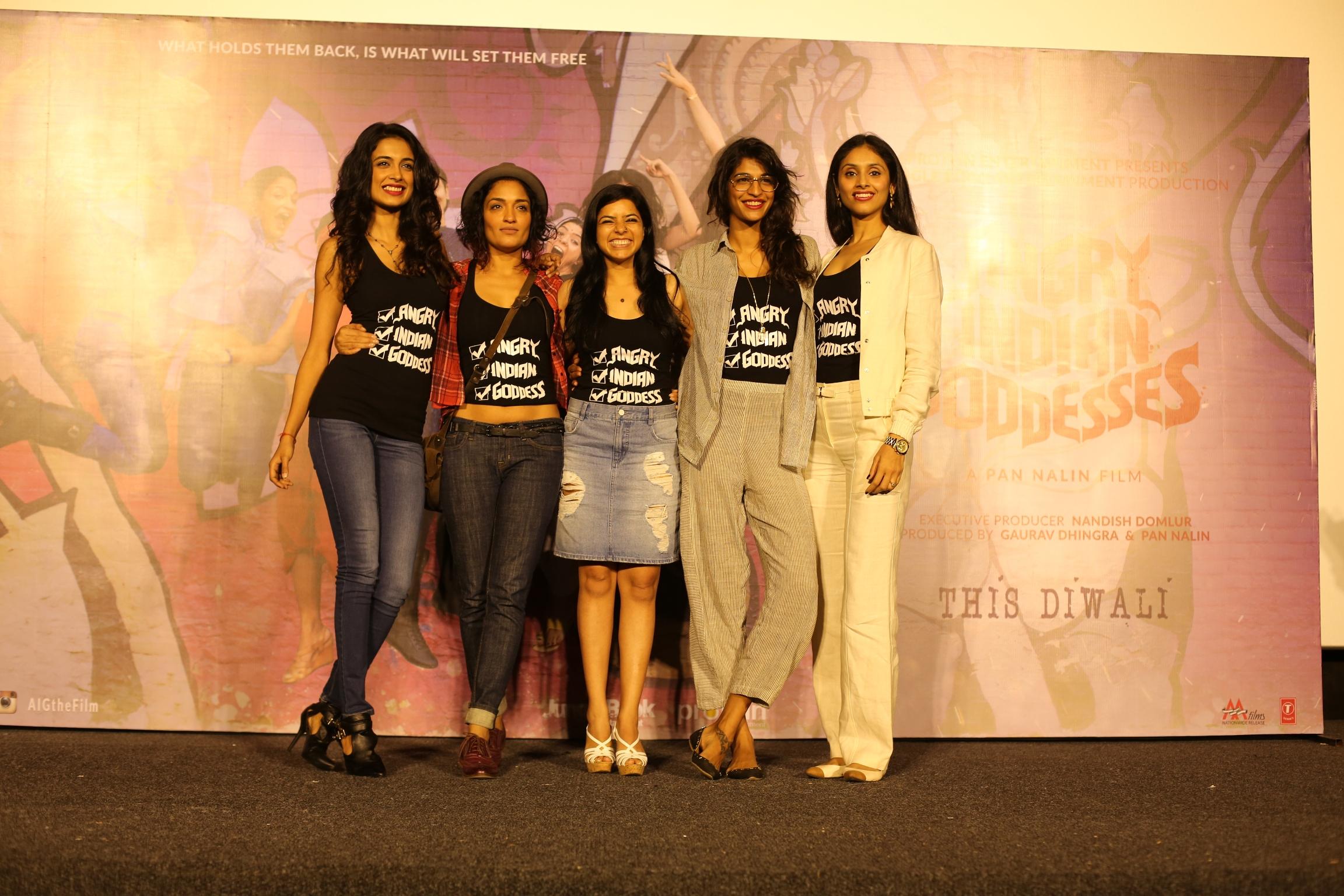 Trailer Launch Event of Angry Indian Goddesses with star cast (l-r )Sarah Jane Dias , Sandhya Mridul, Rajshri Deshpande. Anushka Manchanda & Pavleen Gujral