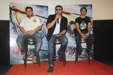 Rishab Arora, Sunny Deol and Shivam Patil interact with the media