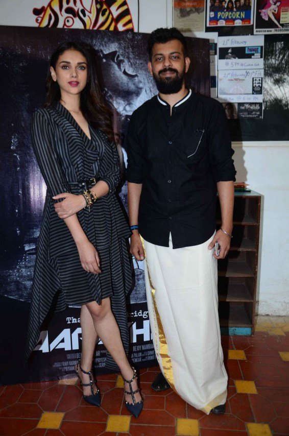 Bejoy Nambiar along with Aditi Rao Hydari at the launch event of music video Aarachar