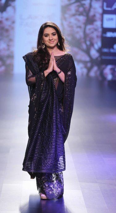 Pic 1 - Designer Politician Shaina NC walks for Neeta Lulla at LFW SR 20...
