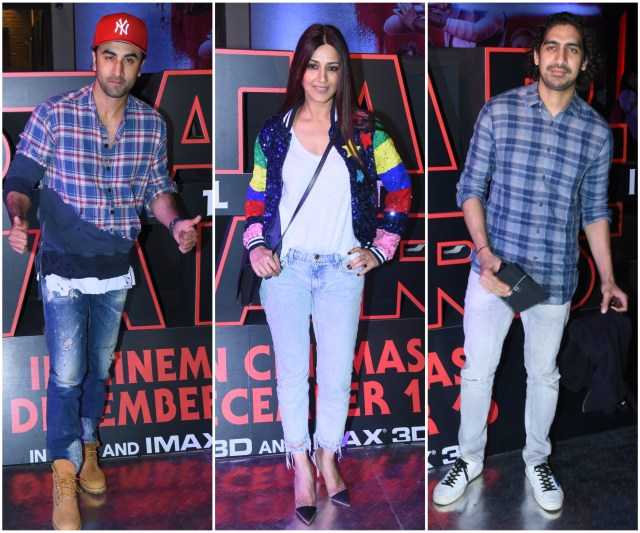 Ranbir Kapoor, Sonali Bendre, Ayan Mukherjee Snapped At The Premiere Of Star Wars The Last Jedi