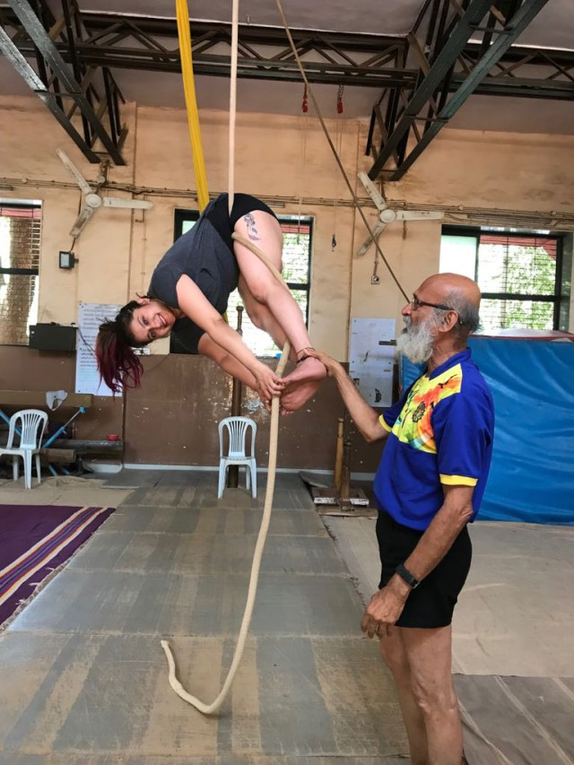 Smilie Suri learning aerial silk renowned Guru Uday V