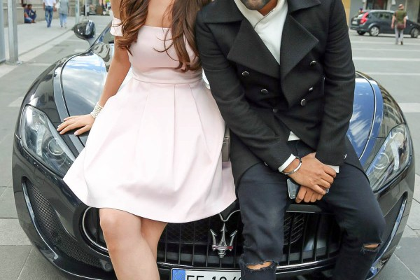Elnaaz Norouzi and Guru Randhawa on the sets of Made In India. Pic 1.