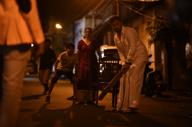 Irrfan khan playing cricket- Still from the film