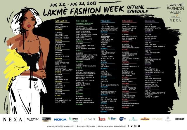 Lakme Fashion Week Winter Festive 2018 - Final Schedule