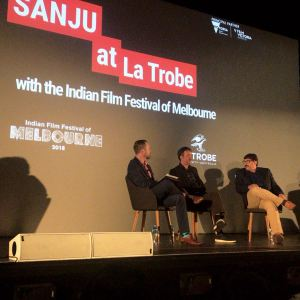 Rajkumar Hirani and Abhijat Joshi at the special screening of Sanju at the La Trobe University in Melbourne (1)