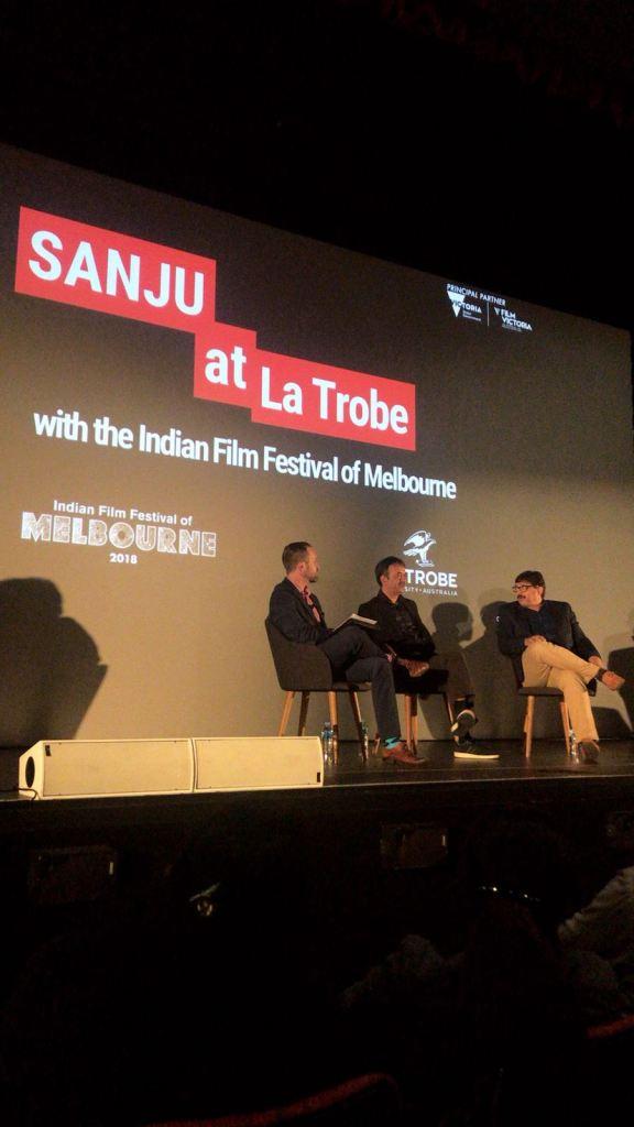 Rajkumar Hirani and Abhijat Joshi at the special screening of Sanju at the La Trobe University in Melbourne (1)
