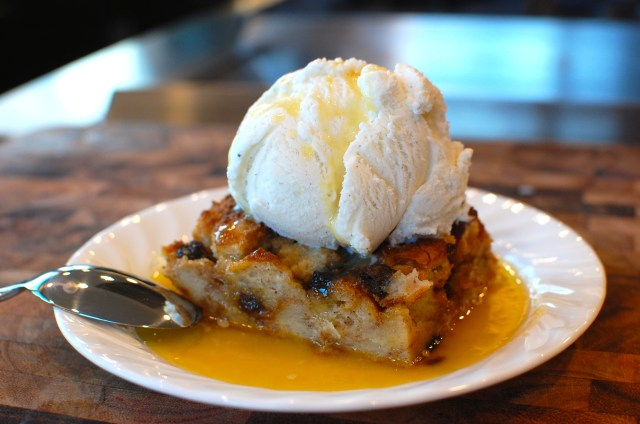 Vanilla Ice Cream Bread Pudding with Whiskey Caramel
