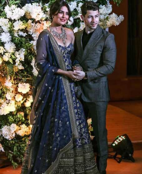 Priyanka Chopra Jonas and Nick Jonas in Sabyasachi