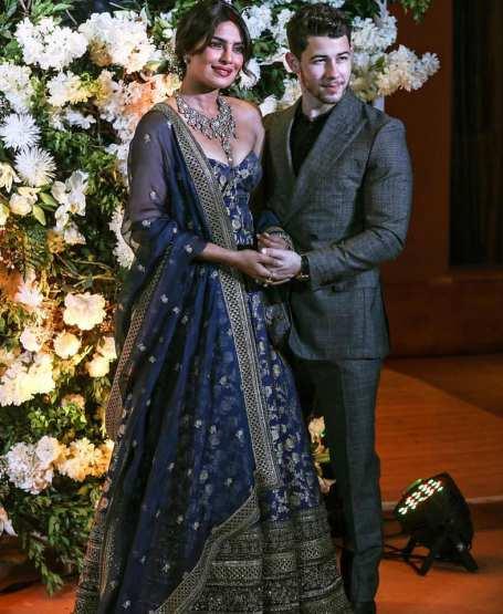 Priyanka Chopra Jonas and Nick Jonas in Sabyasachi