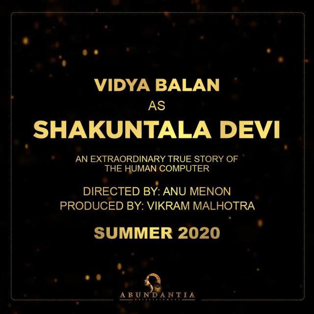 Vidya Balan To Play Shakuntala Devi