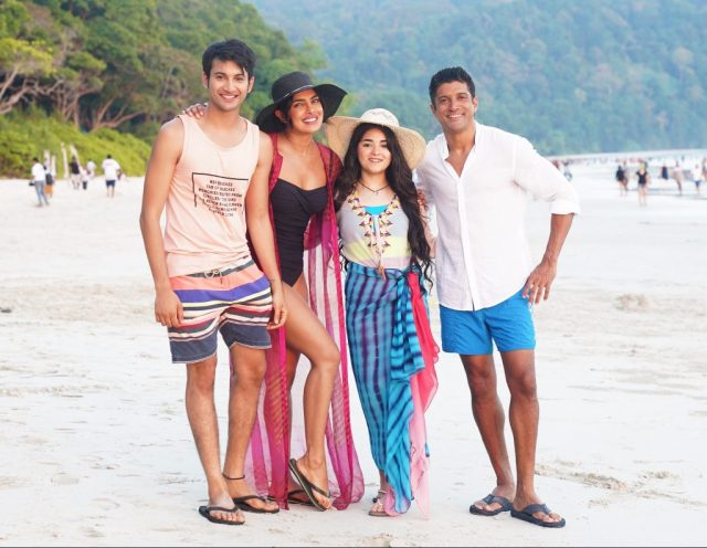 Priyanka Chopra, Farhan Akhtar, Zaira Wasim, and Rohit Saraf in a still from The Sky Is Pink