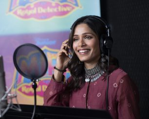 "MIRA, ROYAL DETECTIVE - Freida Pinto voices the role of Queen Shanti on Disney Junior's ""Mira, Royal Detective."" (Disney Junior/Matt Petit) FREIDA PINTO"