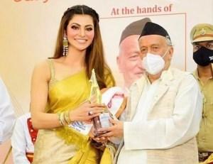 Urvashi Rautela awarded with 'Stree Shakti National Award' – 2021' by Governor Of Maharashtra Bhagat Singh Koshyari at Rajbhavan