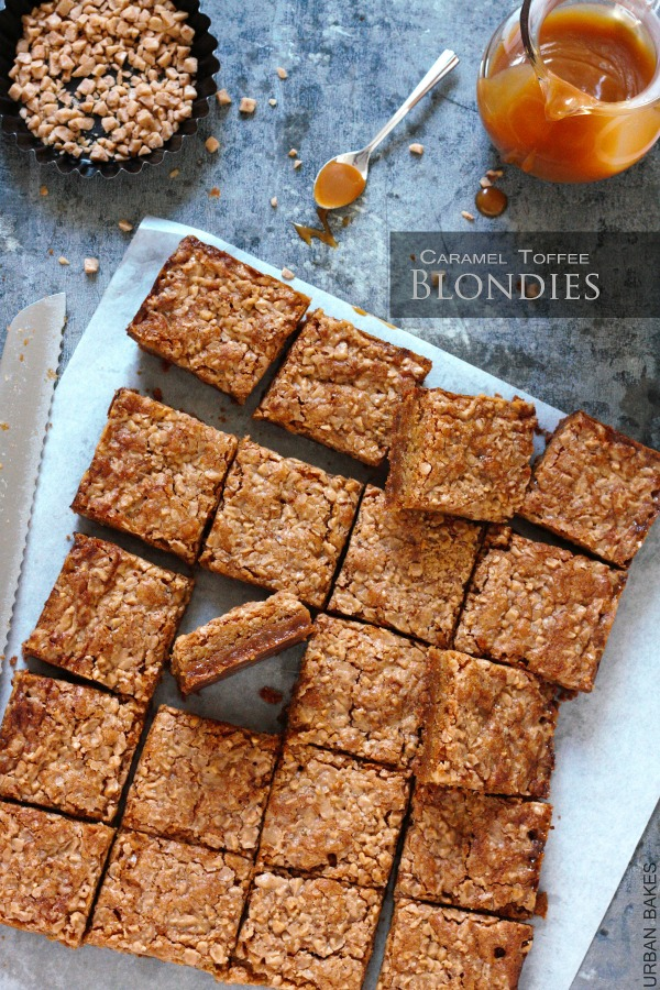 Best Caramel Toffee Blondies | URBAN BAKES