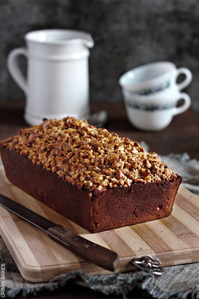 Walnut Crumb Topped Banana Nut Bread | urbanbakes.com #TimetoBelieve #CleverGirls