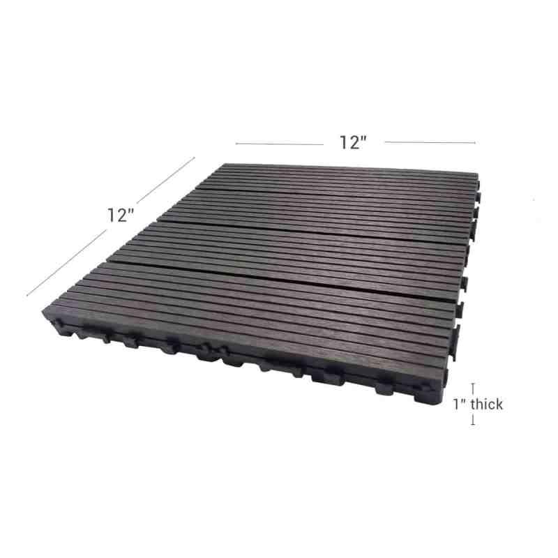 Charcoal Dura composite through shot showing deck tile dimensions