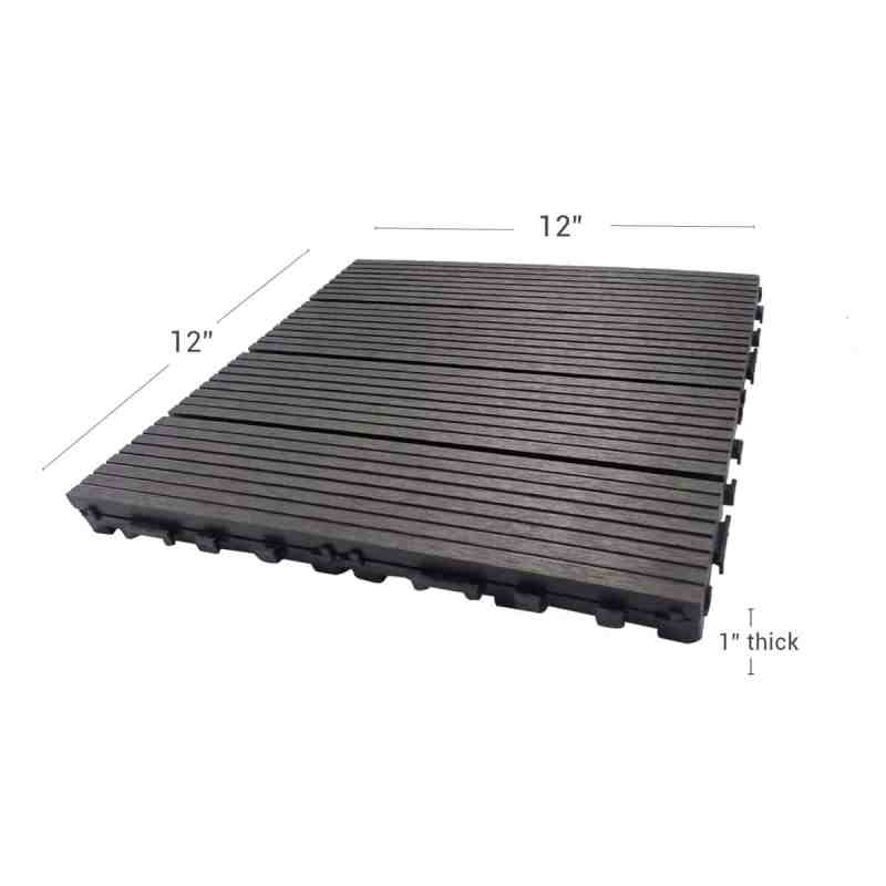 Charcoal Dura composite through shot showing deck tile dimensions